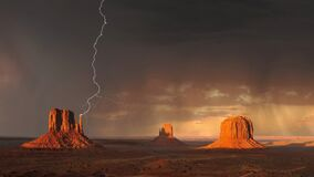 Monument Valley, Lightning, Storm Stock Image