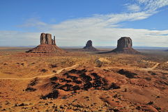 Monument Valley:the Mittens and dirt road Royalty Free Stock Photo