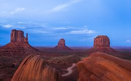 Monument Valley. The Mittens and Merrick Butte from the famous Ansel Adams rocks Royalty Free Stock Photography
