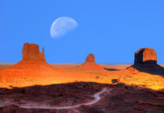 Monument Valley Moon Royalty Free Stock Photography