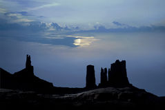 Monument Valley moonlight Royalty Free Stock Images