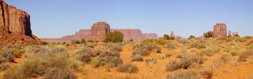 Monument Valley in the morning. A panorama of the Monument Valley (Navajo Nation) on a fine November morning Royalty Free Stock Photos