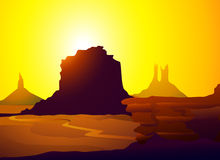 Monument Valley at Morning-Vector Royalty Free Stock Photos