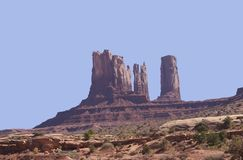 Monument Valley National Park. Beautiful blue sky with a large rock formation Royalty Free Stock Images