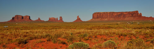 Monument Valley Navajo Indian Tribal Park Approach. Approach to the Monument Valley Navajo Indian Reservation Tribal Park in Arizona and Utah Stock Photo