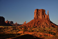 Monument Valley Navajo Indian Tribal Park Panorama. View the Monument Valley from Navajo Indian Tribal Park Visitor centre, Utah and Arizona Stock Photos