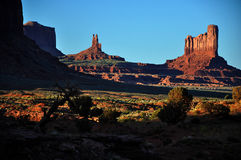 Monument Valley Navajo Indian Tribal Park Panorama. View the Monument Valley from Navajo Indian Tribal Park Visitor centre, Utah and Arizona stock photo