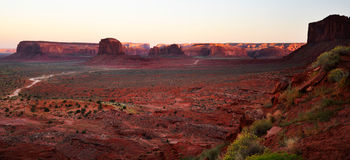 Monument Valley Navajo Indian Tribal Park Panorama. View the Monument Valley from Navajo Indian Tribal Park Visitor centre, Utah and Arizona Stock Image