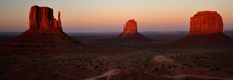 Monument Valley Navajo Indian Tribal Park Panorama. View the Monument Valley from Navajo Indian Tribal Park Visitor centre, Utah and Arizona Royalty Free Stock Photo