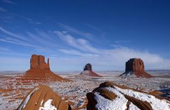 Monument Valley Navajo Indian Tribal Park, Winter. View of the West and East Mitten buttes at the Monument Valley Navajo Indian Reservation Tribal Park. Many royalty free stock images