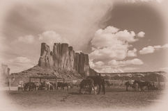 The Monument valley Navajo tribal park with horses, USA. Stock Photos
