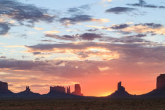 Monument Valley Navajo Tribal park at sunrise Royalty Free Stock Image
