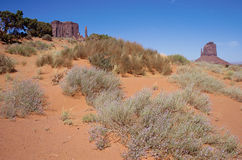 Monument valley and orange sand Royalty Free Stock Photos