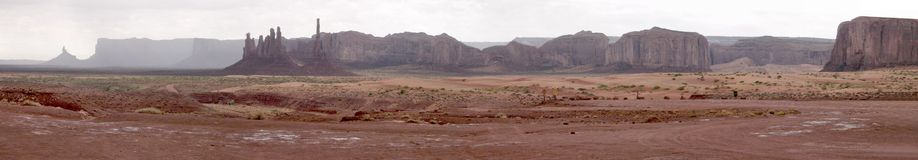 Monument Valley pano. Large panorama of Monument Valley (Arizona), made with 8 shots royalty free stock photos