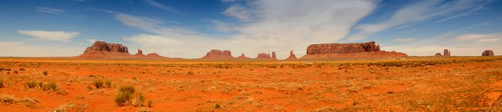 Monument Valley Panorama. Rock formations of Monument Valley in Utah and Arizona Stock Images