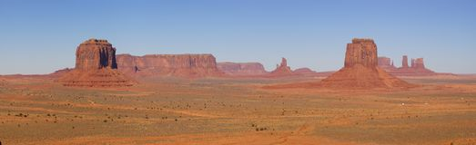 Monument Valley Panorama With 5 Mesas. A panorama of the Monument Valley (Navajo Nation) made on fine autumn morning - a classic Southwest view Stock Photography