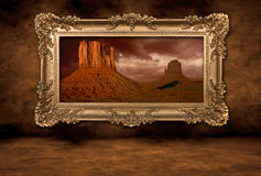 Monument Valley Panorama in a Vintage Boroque Fram Stock Photography