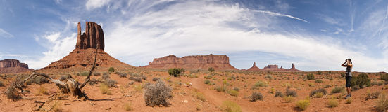 Monument valley panoramic view with women observat Royalty Free Stock Photo