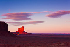 Monument Valley Pinnacle At Sunset Stock Image