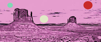 MONUMENT VALLEY POP. Monument valley in pop style as fantasy landscape in hot pink and colored dots Stock Photography