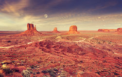 Monument Valley after purple sunset Royalty Free Stock Images