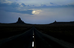 Monument Valley road moonlight Royalty Free Stock Photo