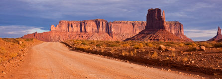 Monument Valley Road Panorama royalty free stock photo