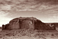 Monument Valley Rock Formations. Tonemapped image ot rock formations on a cloudy day in Monument Valley Tribal Park, Utah Stock Photo