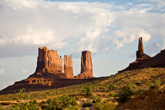 Monument Valley with Sandstone Formations called Stagecoach and Bear&Rabbit Stock Photography