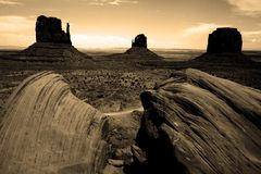 Monument Valley in Sepia Royalty Free Stock Photo
