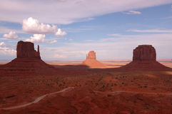 Monument Valley in a shadow. Two mountains of Monument Valley in a shadow royalty free stock photography