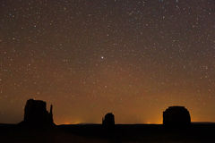 Monument Valley with stars. Royalty Free Stock Photography