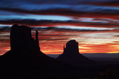 Monument valley sunrise Royalty Free Stock Images