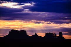 Monument Valley with Sunrise Glow in the Dusk Royalty Free Stock Photos