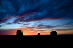 Monument Valley Sunrise Panorama Royalty Free Stock Images