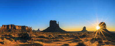 Monument Valley at sunrise, panoramic view Royalty Free Stock Images
