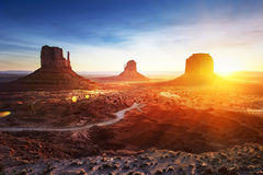 Monument Valley at sunrise royalty free stock photo