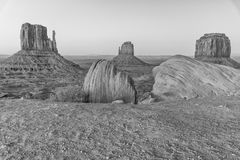 Monument Valley after sunset, long exposure of West and East Mit. Ten Buttes royalty free stock photos