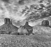 Monument Valley after sunset, long exposure of West and East Mit. Ten Buttes stock photos