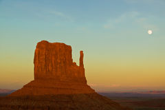 Monument Valley Sunset With Moon Stock Photos