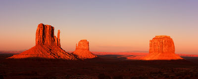 Monument valley sunset pano Stock Image