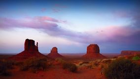 Monument Valley Sunset Panorama, Navajo Indian Tribal Park, USA Royalty Free Stock Photo