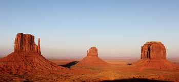 Monument Valley. Sunset 3 red hills in Navajo land royalty free stock photos