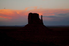 Monument Valley Sunset Silhouette Stock Photo