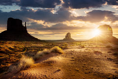 Monument Valley. Sunset at the sisters in Monument Valley, USA