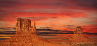 Monument Valley at sunset, USA Royalty Free Stock Photos