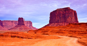 Monument Valley Tribal Park Road. Dramatic sky over Monument Valley road Royalty Free Stock Images