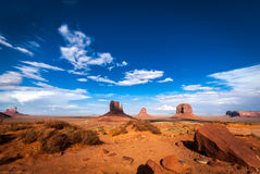 Monument Valley typical panorama western lands Stock Image