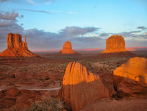 Monument Valley, U.S.A., August 2004. Sunset at Monument Valley, Utah, during Summer Stock Image