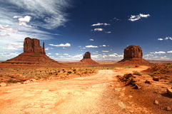 Monument Valley under the blue sky Stock Image